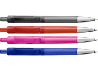 Ballpoint Pen With Transparent Coloured Barrel
