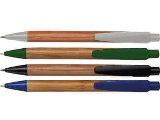 Bamboo Ballpoint Pen With Plastic Trims