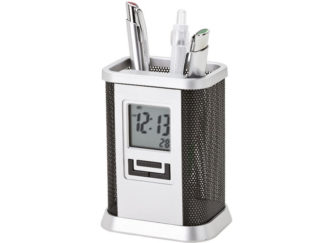 Desktop Pen Stand With Alarm Clock